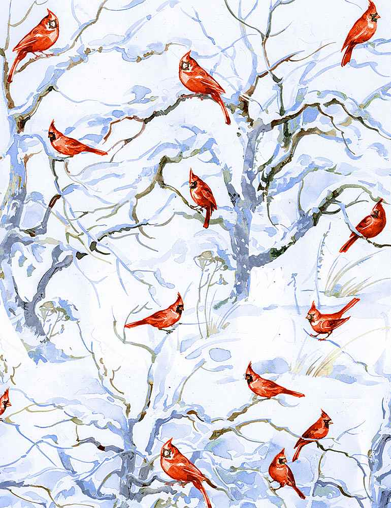 WINTER-C8666 / WHITE / RED CARDINALS IN SNOW