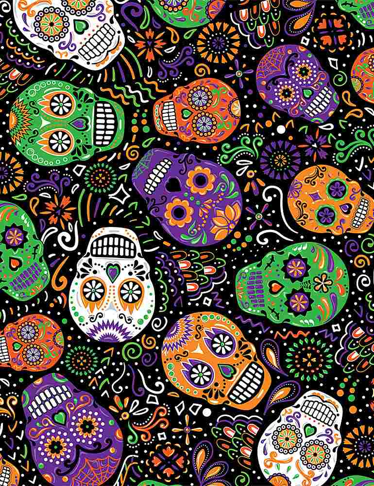 FUN-C8664 / BLACK / DAY OF THE DEAD MARDI GRAS SKULLS