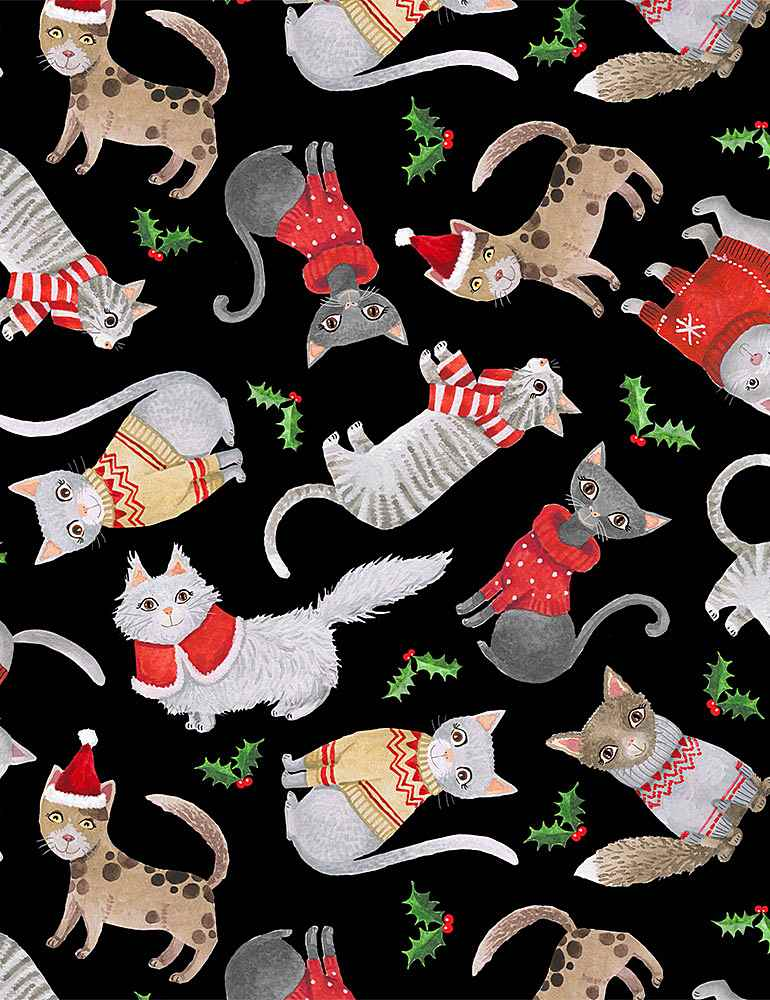 CAT-C8652 / BLACK / CATS IN THE CHRISTMAS SWEATERS