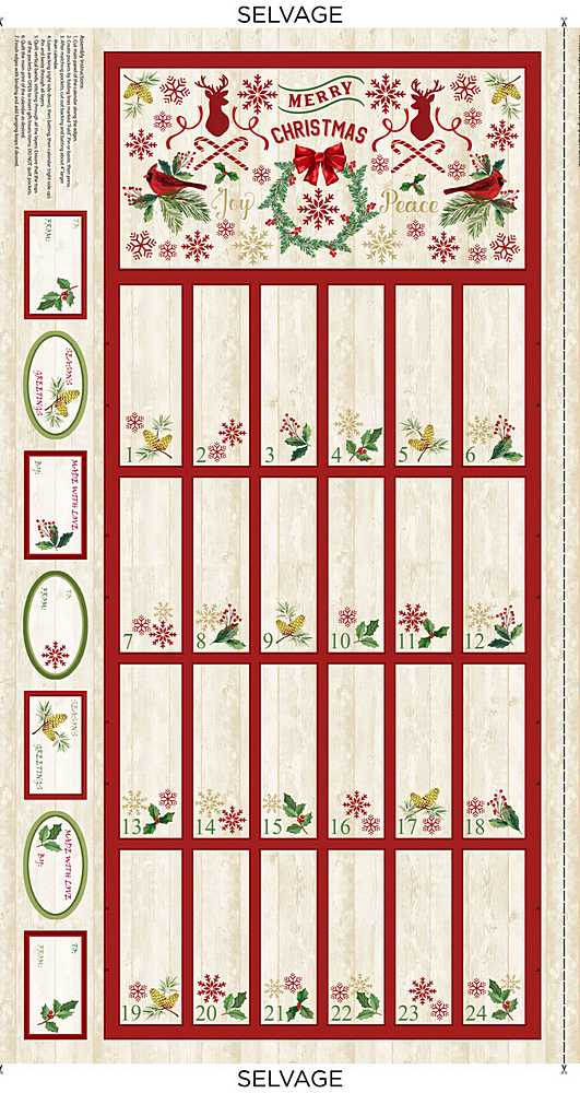 PANEL-C8653 / NATURAL / CHRISTMAS ADVENT CALENDER