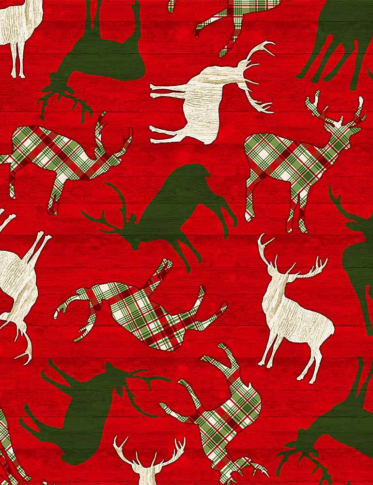 HOLIDAY-C8656 / RED / TOSSED REINDEER ON RED WOOD