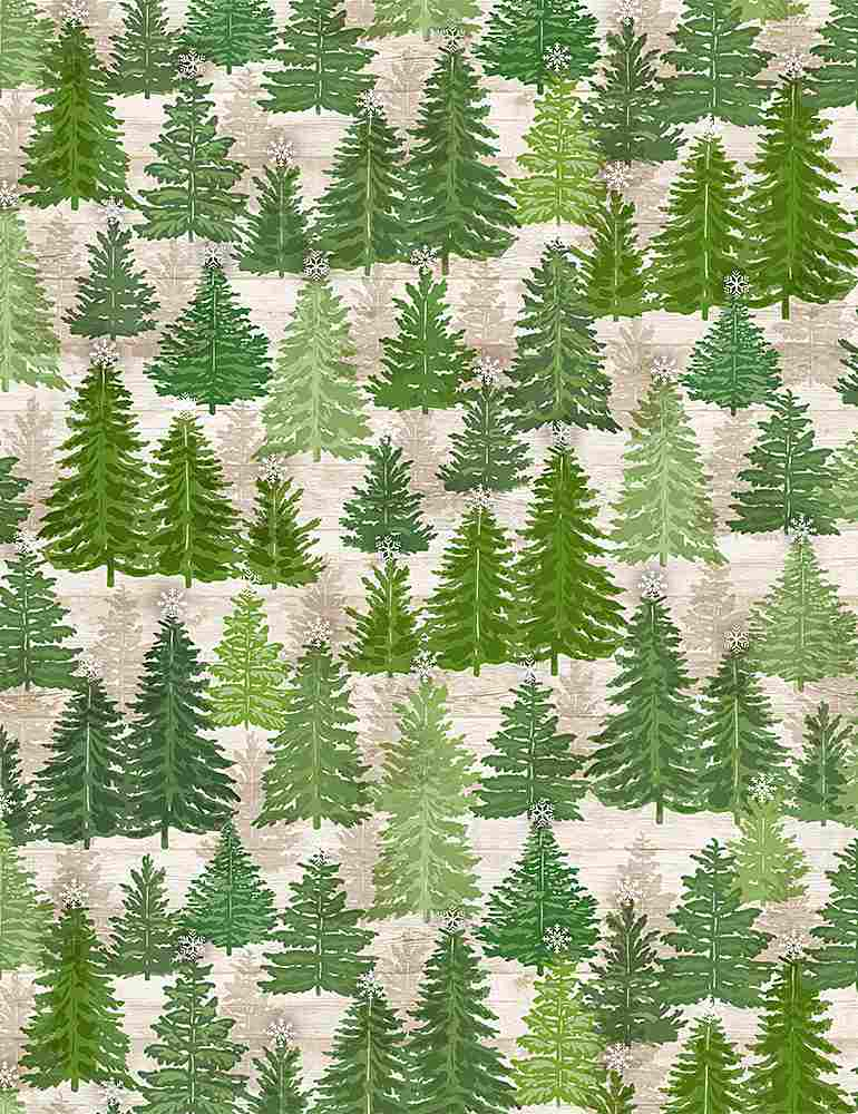 HOLIDAY-C8657 / NATURAL / PINE TREES ON WOOD