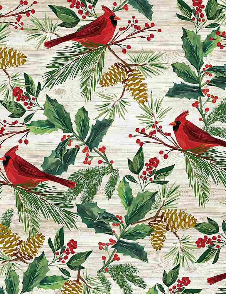HOLIDAY-C8658 / NATURAL / RED CARDINALS ON WOOD
