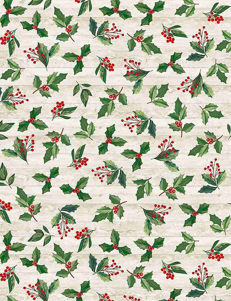 HOLIDAY-C8659 / NATURAL / HOLLY & LEAVES