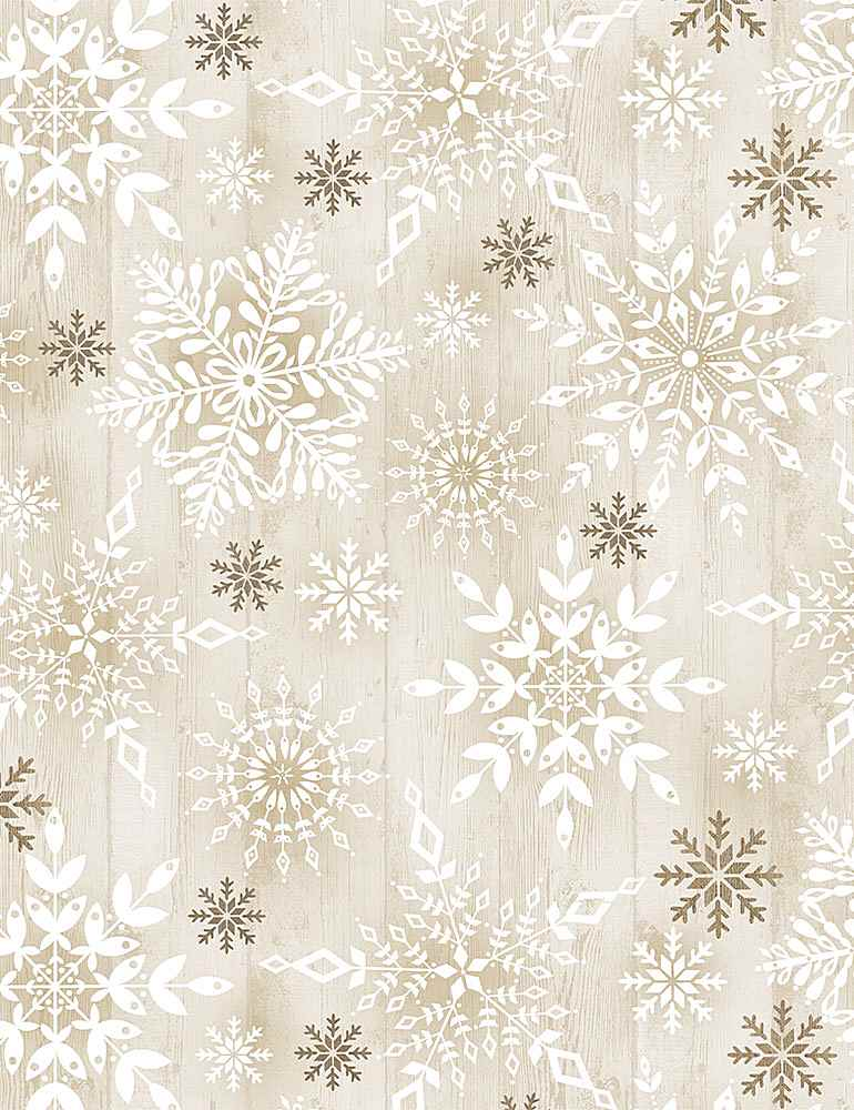 HOLIDAY-C8660 / NATURAL / STAMPED SNOWFLAKES ON WOOD