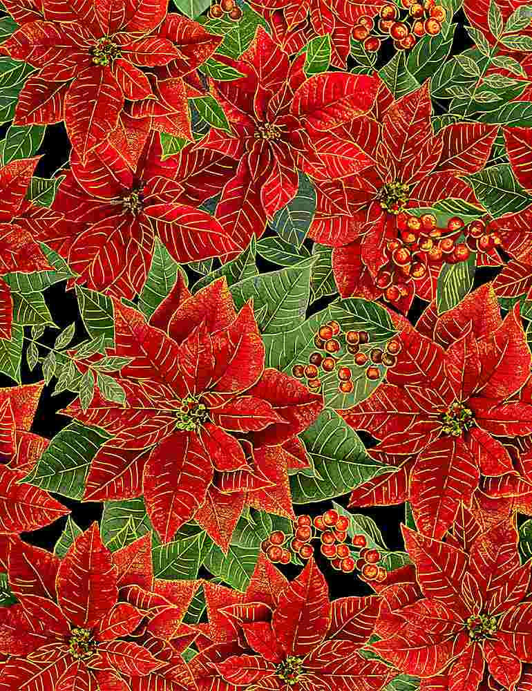 HOLIDAY-CM8516 / BLACK / PACKED METALLIC POINSETTAS WITH LEAVES