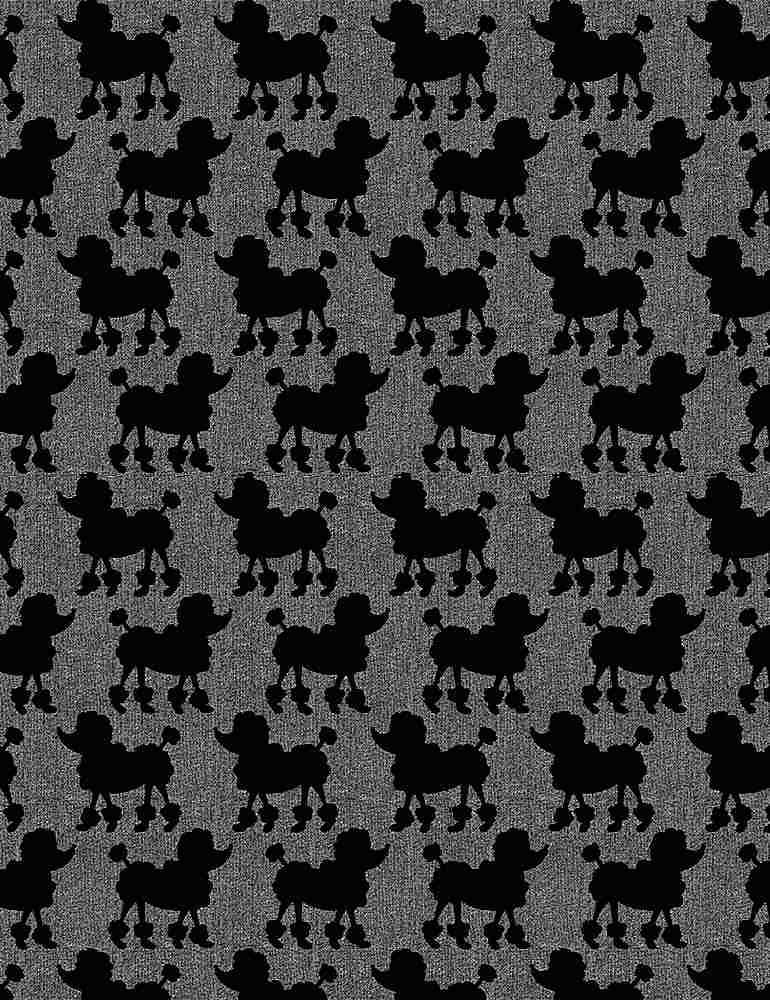 DOG-C8692 / GREY / PARISIAN POODLES ON TEXTURED GROUND