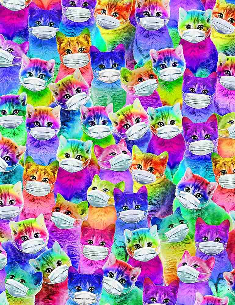 CAT-C8710 / MULTI / BRIGHT CARTOON CATS WITH MASKS