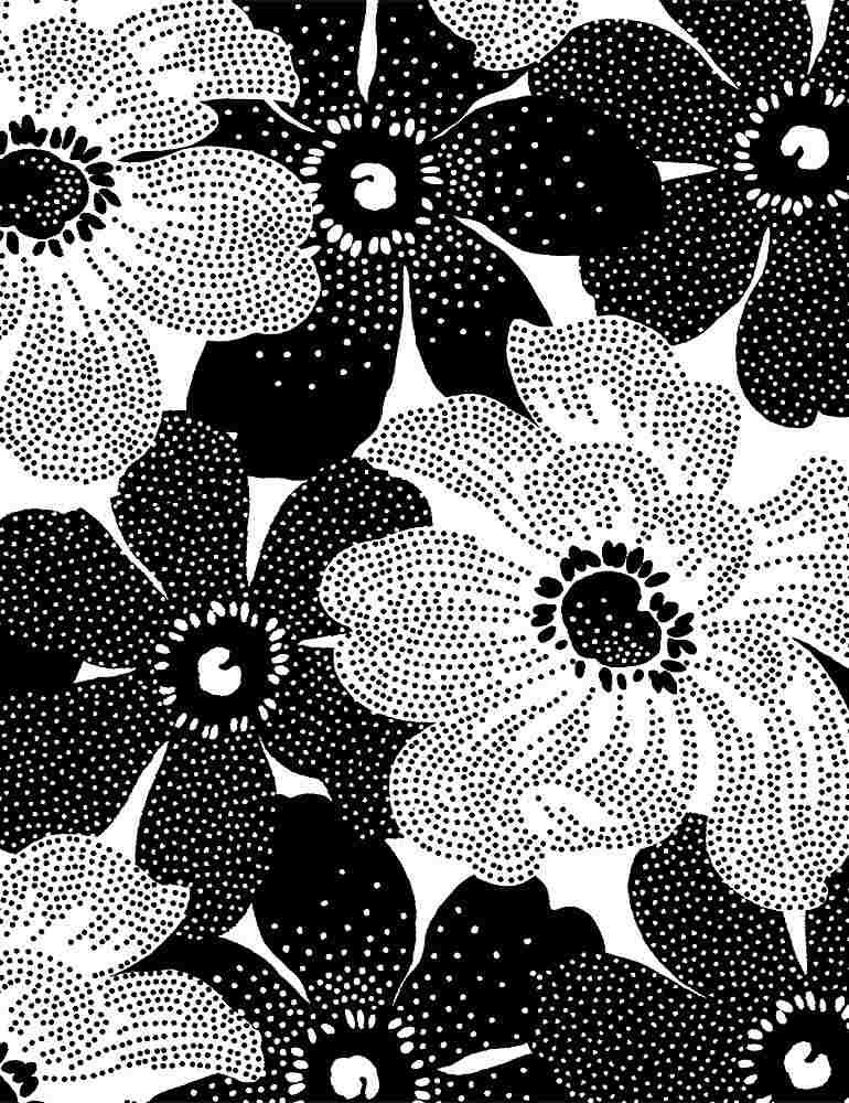 INK-C8725/WHITE / BLACKANDWHITEDOTTEDFLOWERS