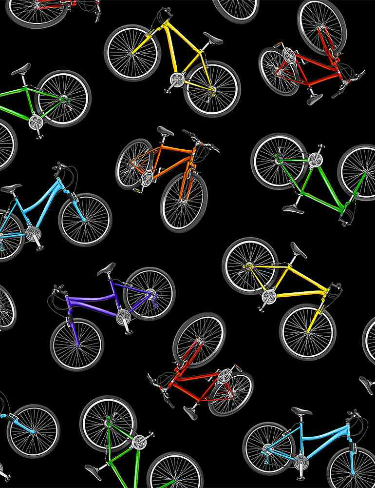 GM-C8772 / BLACK / TOSSED COLORFUL BICYCLES