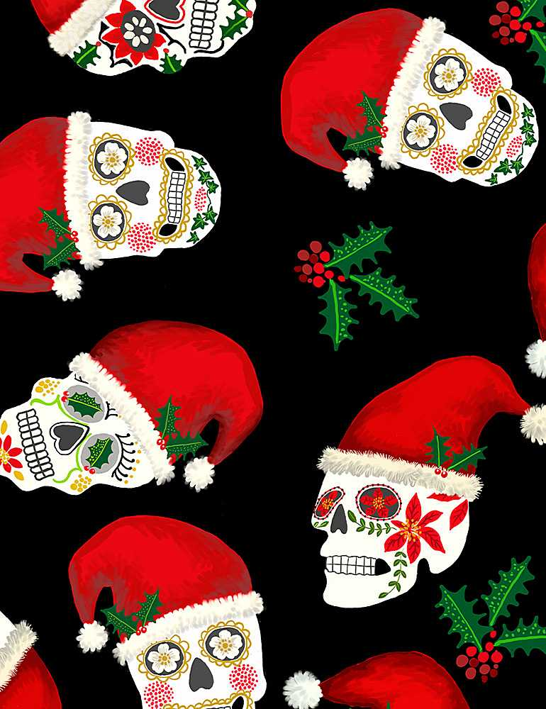 WSOFTIE-PD8455 / BLACK / CHRISTMAS SUGAR SKULLS