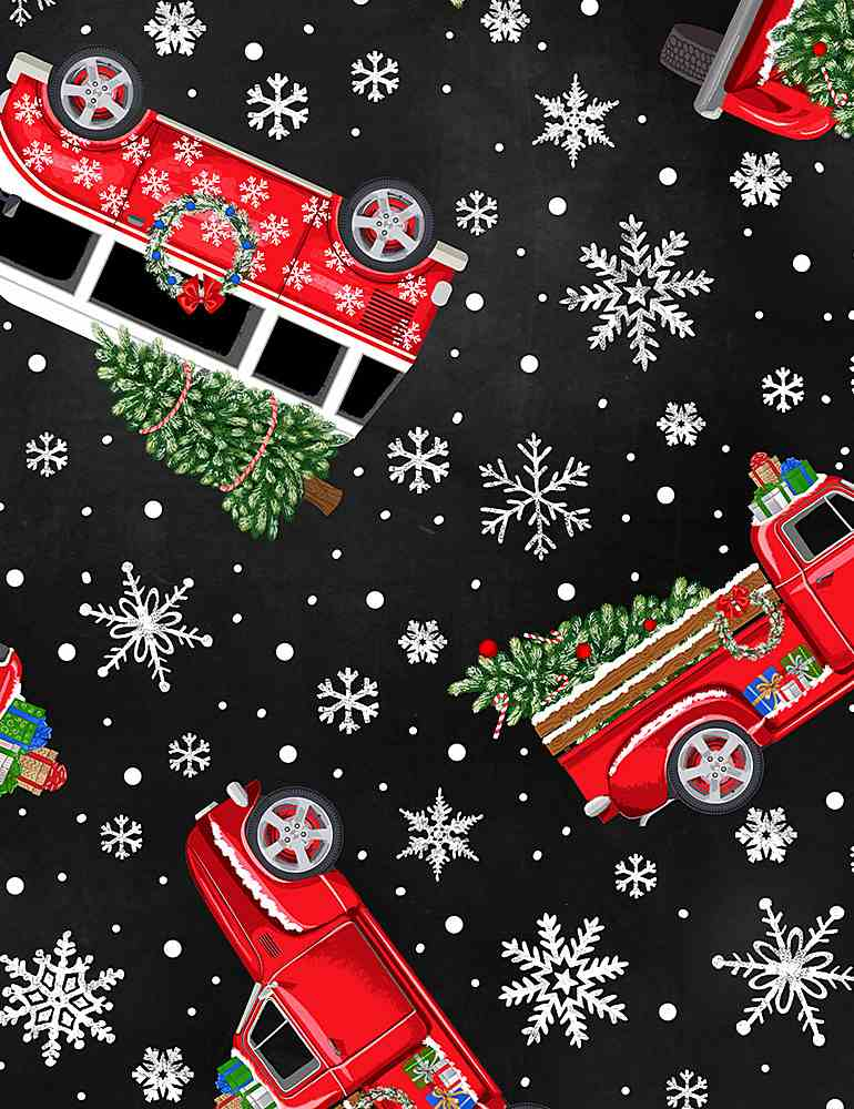 WSOFTIEG-PD6887 / BLACK / TOSSED HOLIDAY CARS WITH TREES