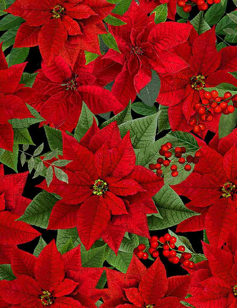 WSOFTIE-PDM8516 / BLACK / PACKED METALLIC POINSETTAS WITH LEAVES