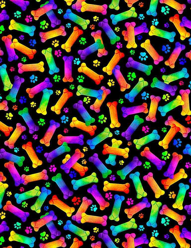 DOG-CD8835/BLACK / RAINBOWDOGBONES