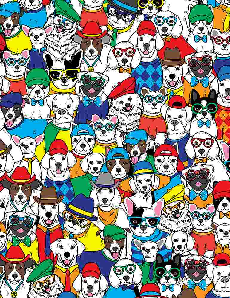 DOG-C8918 / MULTI / PACKED CARTOON DOGS WITH HATS