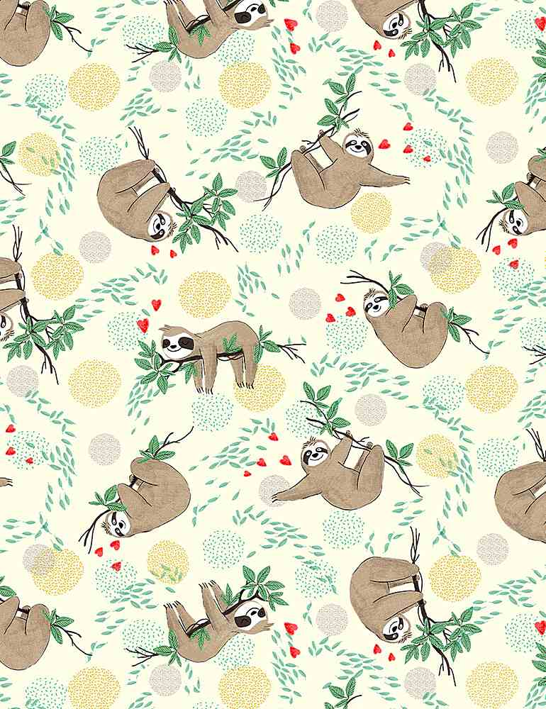 FUN-CD8847 / CREAM / TOSSED HANGING SLOTHS ON BRANCHES