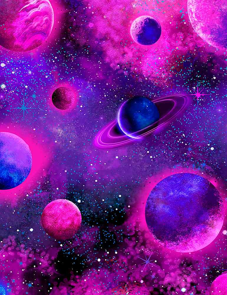 SPACE-CD8905 / PURPLE / PINK PURPLE PLANETS