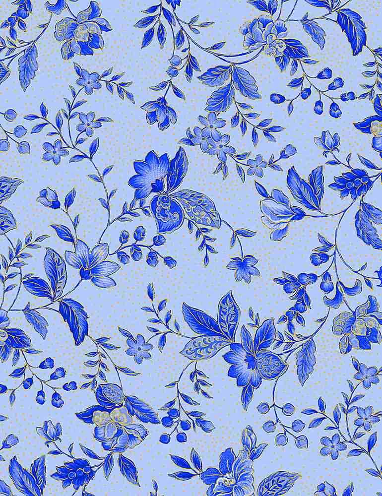 FLEUR-CM1003/BLUE / SAPPHIRETOSSEDMETALLICFLORALS