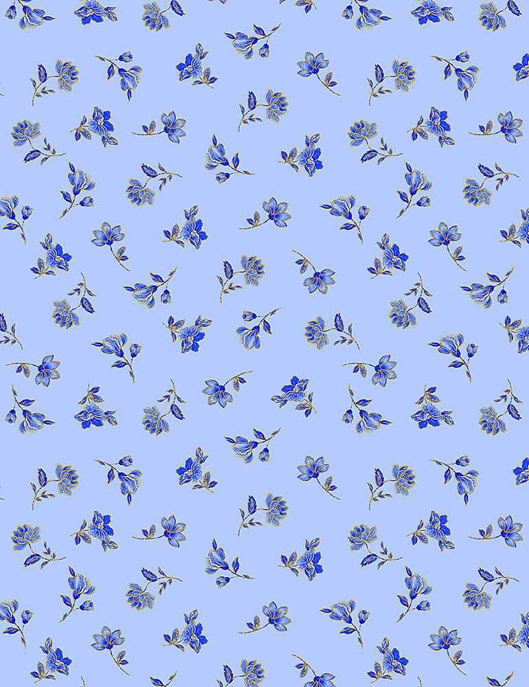 FLEUR-CM1005/BLUE / SAPPHIRETOSSEDMETALLICSMALLFLORALS