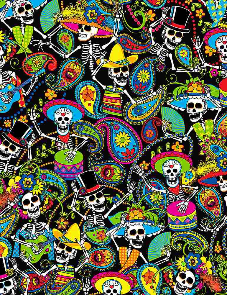 FUN-C1207/BLACK / PACKEDDAYOFTHEDEADSKELETONS