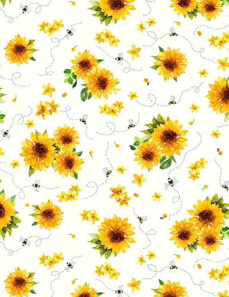 KATIE-CD1346/CREAM / WATERCOLORSUNFLOWERS&BEES